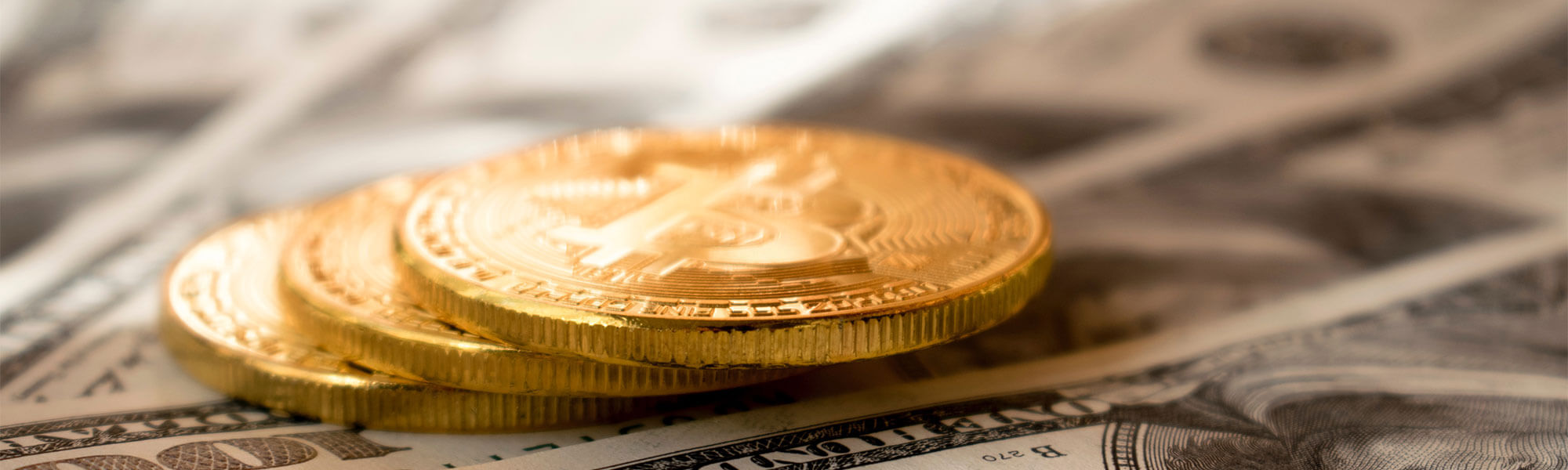Crypto coins and dollars