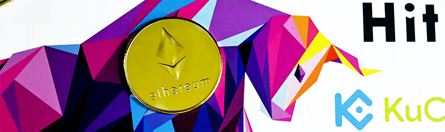 Ethereum with crypto exchanges in the background