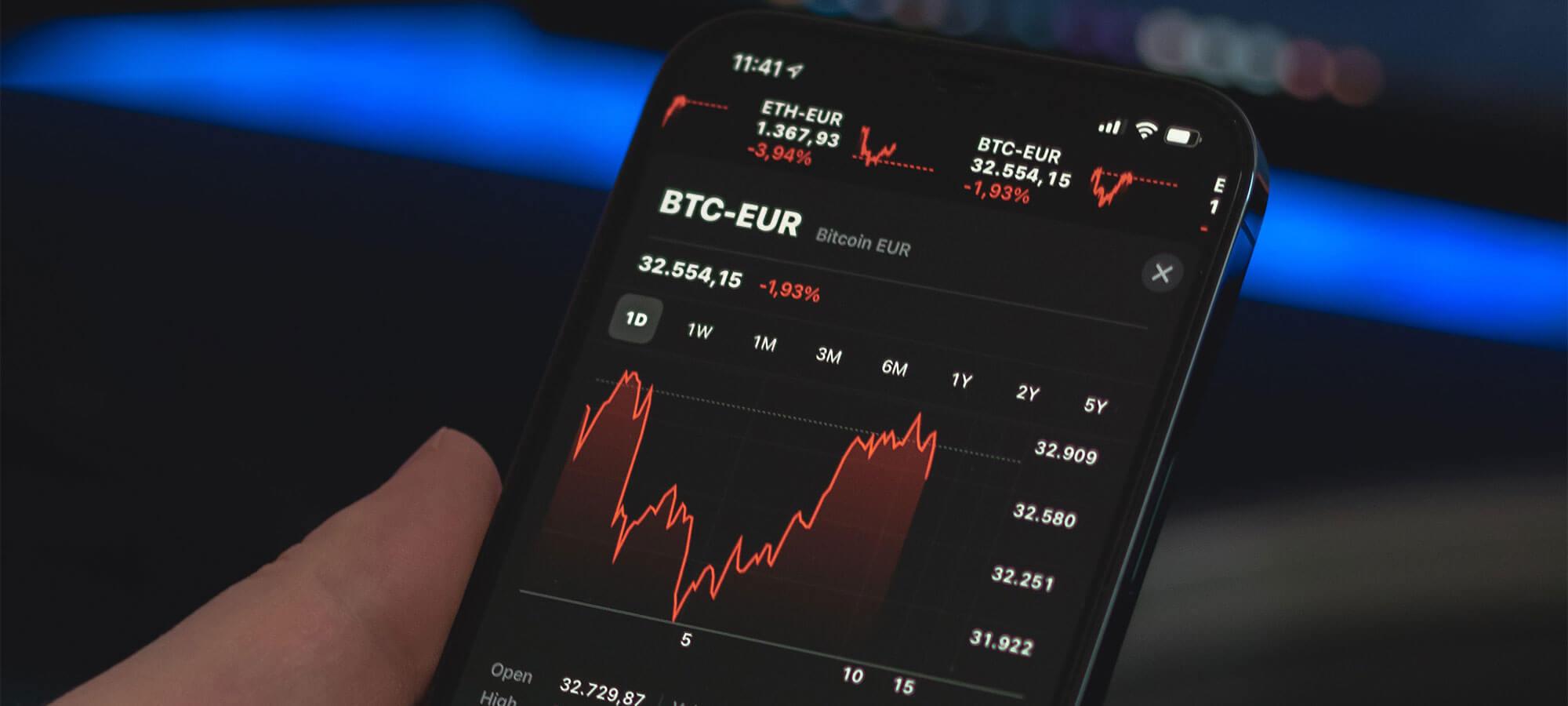 Bitcoin shown on phone