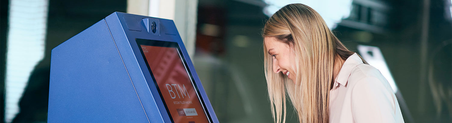 Woman in Bitcoin ATM