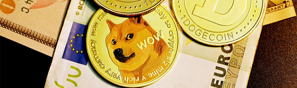 Gold dogecoin on top of a Euro bank note