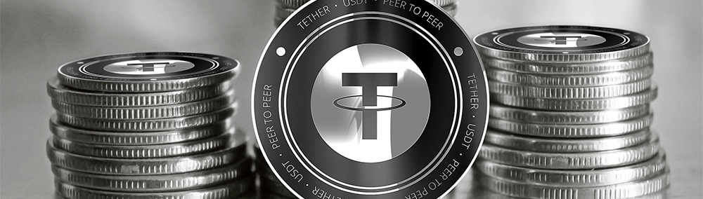 Pile of USDT tether coins in black and white