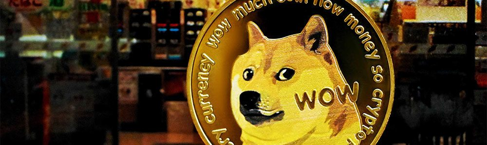 Dogecoin with restaurant as background