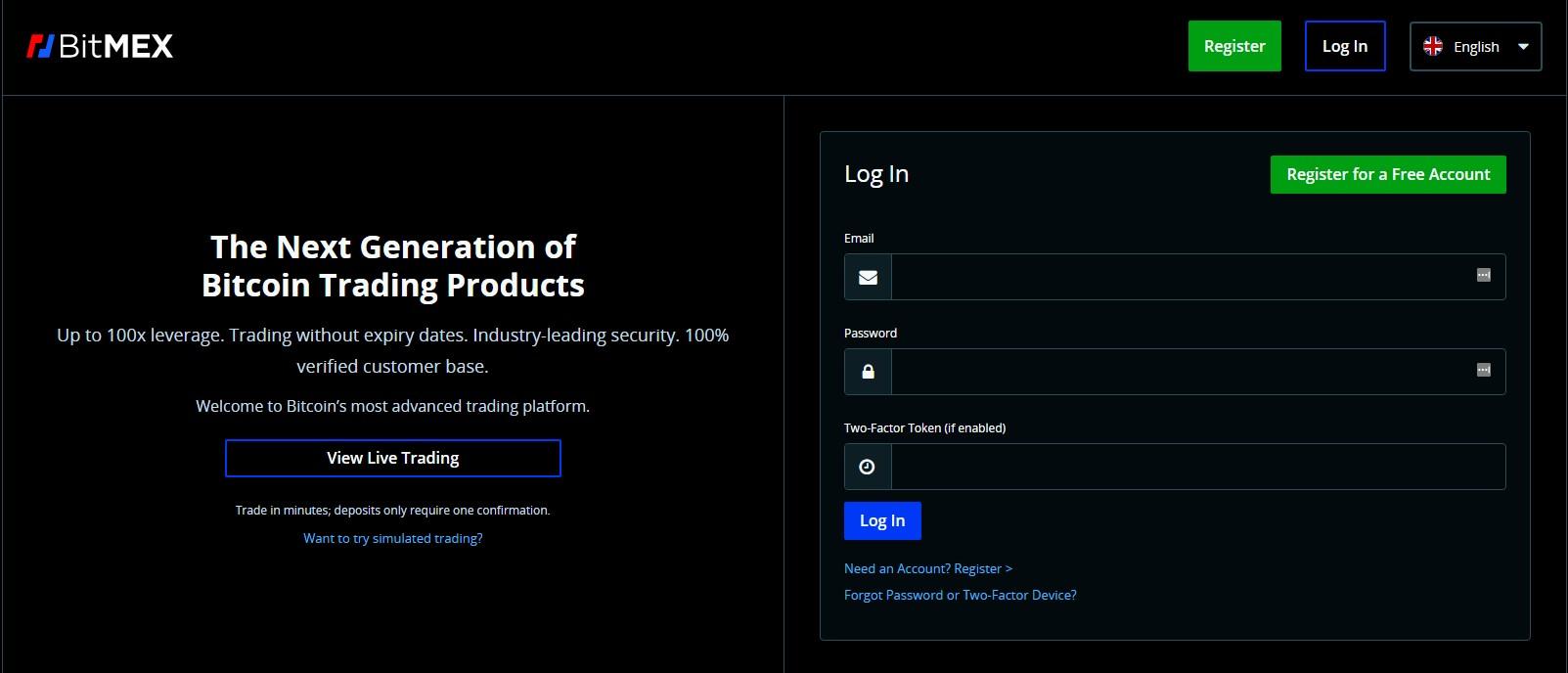 BitMEX homepage