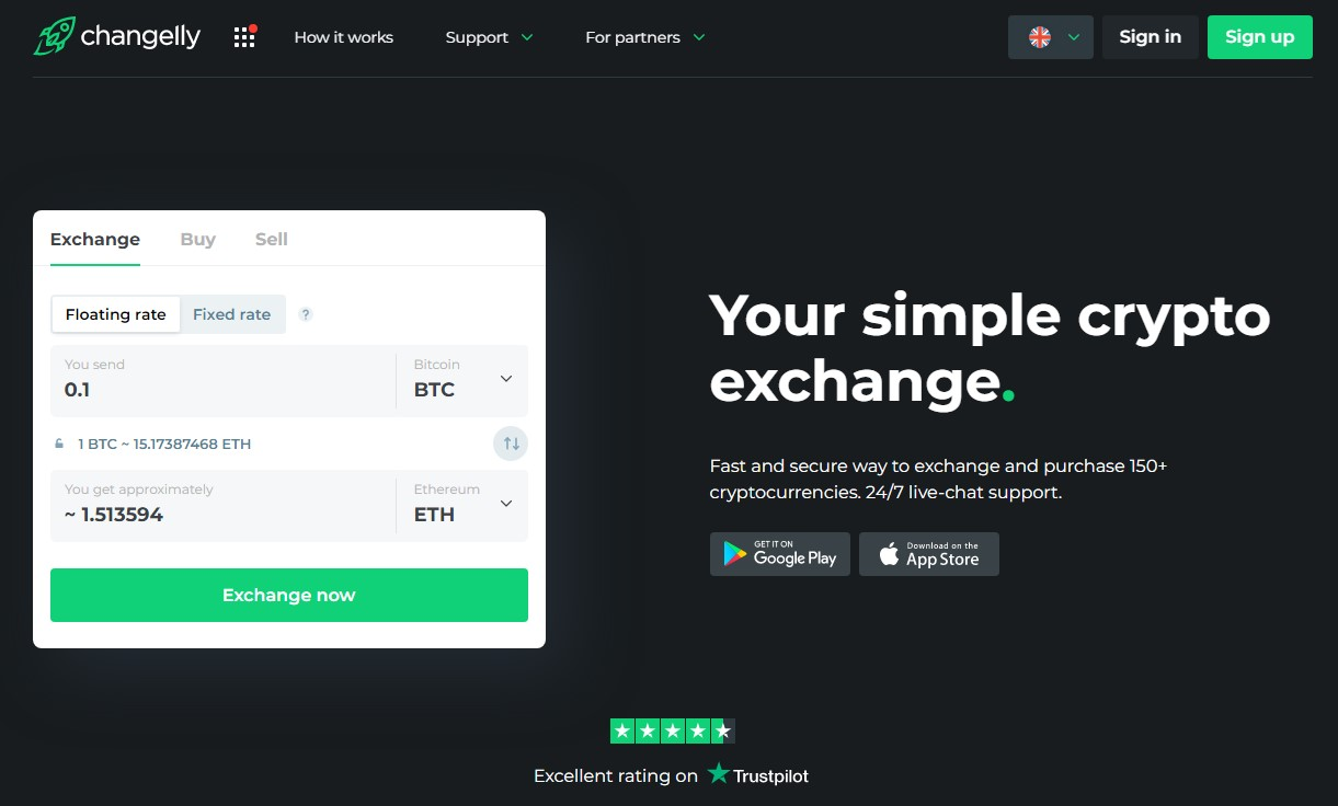 Changelly homepage