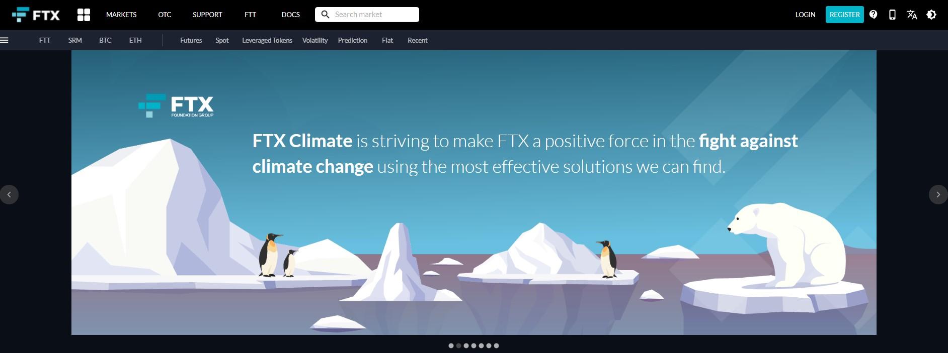 FTX homepage