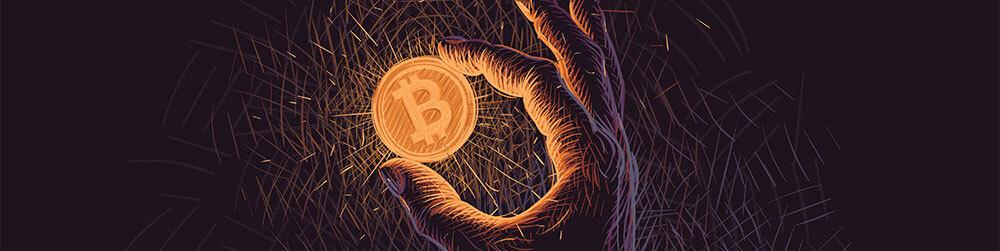 Glowing hand holding bitcoin illustration on dark background