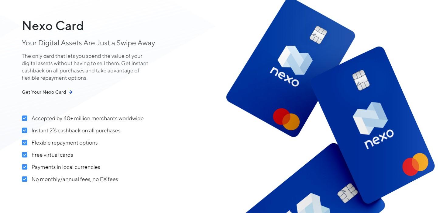 Nexo card features