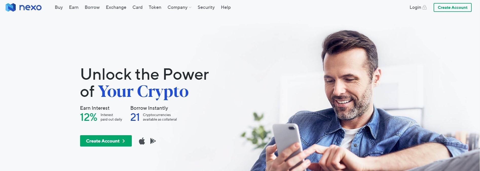 Nexo homepage