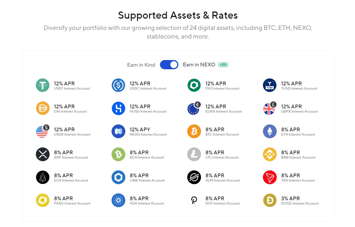 Nexo supported cryptocurrencies