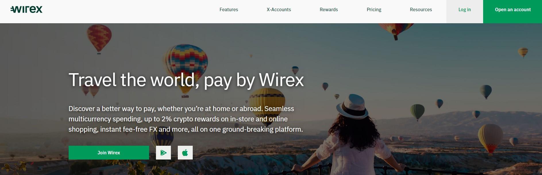 Wirex exchange homepage