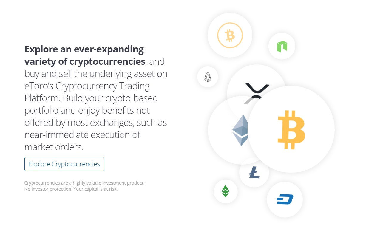 eToro supported cryptocurrencies page