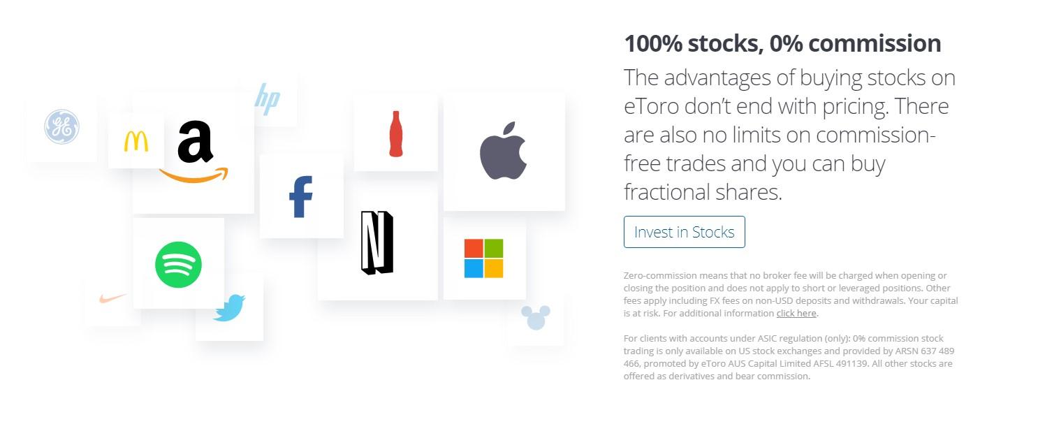 eToro stocks page