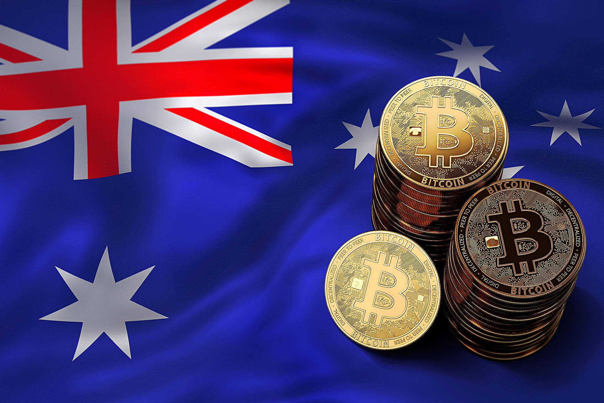 Stack of bitcoins on top of Australian flag