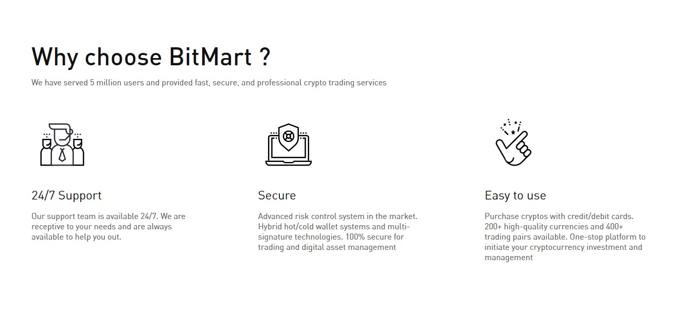 Bitmart crypto exchange features