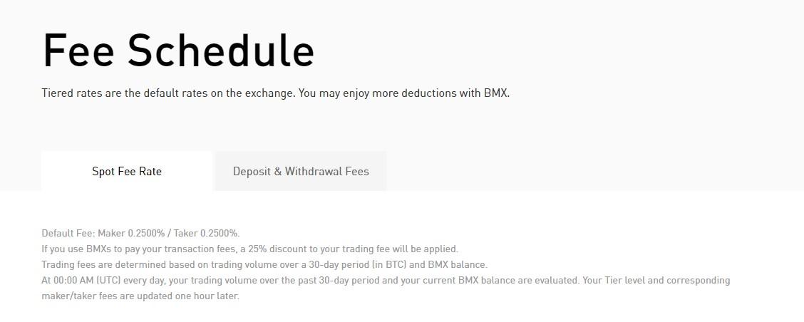 Bitmart exchange fees