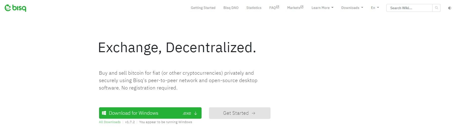 Bisq network homepage