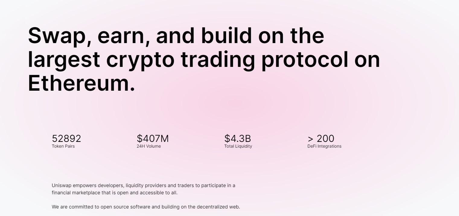 Uniswap crypto trading on Ehtereum blockchain page